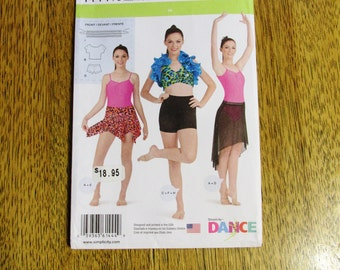 DIY Ladies' DANCEWEAR - Leotard, Cropped Top, Halter Bra, Handkerchief Skirt +++ - Sizes (12 - 20) - UNCUT Sewing Pattern Simplicity 1444