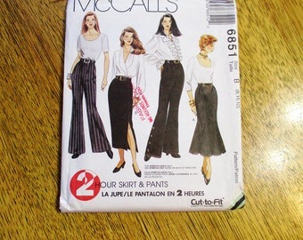 VINTAGE 1990's Bell Bottom Pants / Pencil Skirt / Trumpet Skirt (Belly Dance Skirt) - Size (8 - 10 - 12) - UNCUT Sewing Pattern McCalls 6851