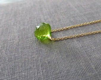 Peridot Necklace, Peridot Briolette, Gemstone Necklace, Onion Briolette, August Birthstone, Bright Green Gemstone, Tiny Briolette
