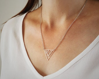 Silver geometric triangle mountain necklace