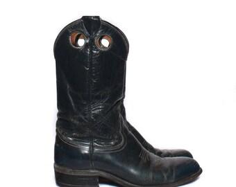 7 B   Women's Navy Blue 1970's Buckaroo Roper Boot Distressed Leather