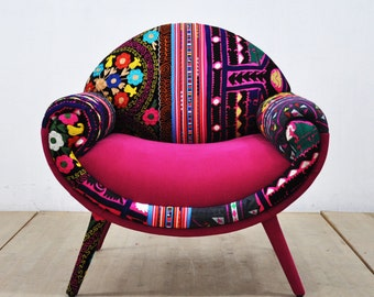 Smiley patchwork armchair - pink love