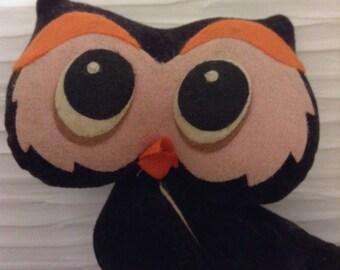 Vintage 1960 Kamar Black OWL Doll. Made in Japan.  Mid century modern, Eames era kitsch