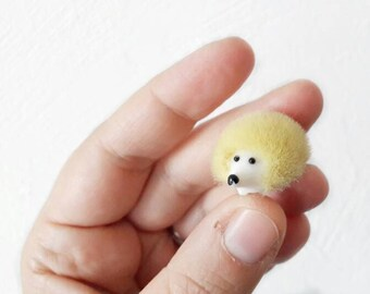 Vintage Yellow Hairy Hedgehog Brooch Made in Western Germany