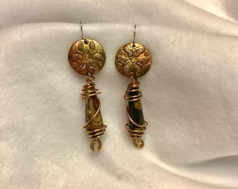 Handcrafted Bronze  and Natural Jasper earrings. Three Butterflies. Wire wrapped