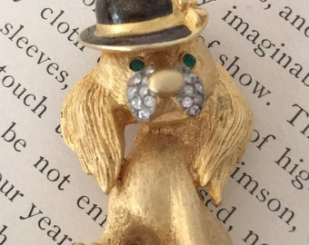 Vintage Jeweled Dog Brooch