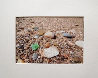 Lake Michigan Green Beach Glass 5x7 Matted Photo
