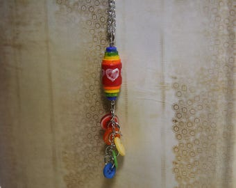 Rainbow Tassel Necklace Hand Painted Bright Colors Rainbow Brite - made from buttons