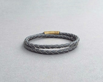 Mens Leather Bracelet, Braided Leather Bangle, Men's Jewelry, Boyfriend Gift