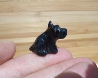 Miniature scottie dog figurine, scottish terrier, dog sculpture, dog totem, animal figurine