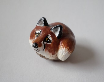 Miniature  fox figurine  animal totem, sculpture #161