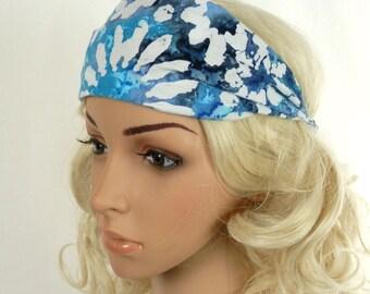 Blue Headband / Blue Batik Headband / Shades of Blue and Turquoise with White Daisies / Hippie Headband / Blue Daisy Headband