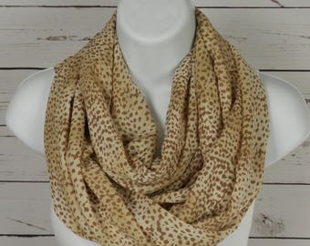 Tan Infinity Scarf in Creamy Tan and Khaki Abstract Animal Print, Dot Print Buttery Soft Fashion Scarf Handmade by Thimbledoodle