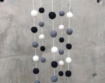 Black Grey White Felt Ball Nursery Mobile - Gray White Playroom PomPom Nursery Decor
