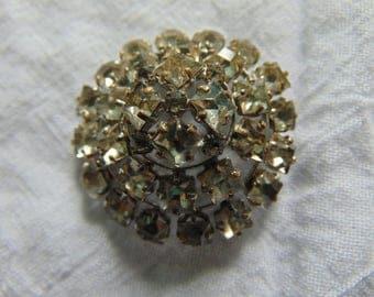 vintage czecho signed crystal brooch