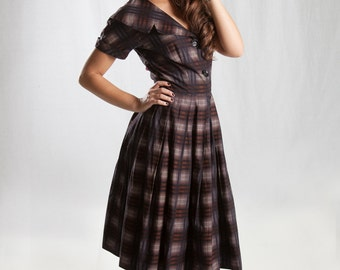 1950s Brown Shadow Plaid Cotton Dress