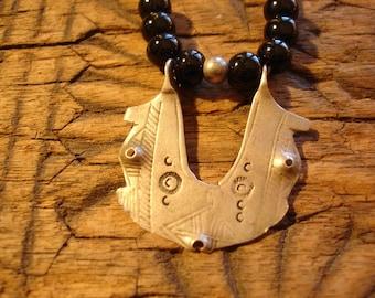 Silver (tested) Niger Tuareg black agate hand engraved necklace pendant