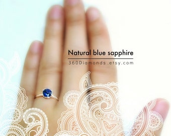Blue sapphire solitaire ring, ultramarine engagement ring, September birthstone ring, promise ring, 6 prong ring, tapered silver ring
