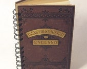 1800's HISTORY OF ENGLAND Handmade Journal Vintage Upcycled Book Vintage History Textbook