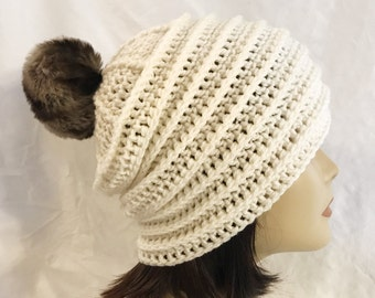 hat with faux fur pom pom,slouch,beanie,hat,hand crochet,made to fit teen and adults,cream with faux fur pom pom