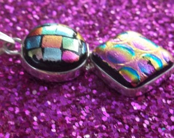 Dichroic Glass Sterling Silver Geometric Shape Pendant
