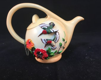 Vintage Miniature Hummingbird Teapot by Nini Hand Painted 3.5 Inches Tall 4.25 Inches Wide
