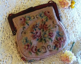 Tapestry Handbag Vintage or Antique Floral Needlepoint Clutch Rose Petit Point Bag Purse Embroidered With Flowers Edwardian or Victorian Era