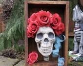 Grateful Dead skeleton roses  shadow box sculpture