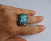 Sterling Silver Ring with Bisbee turquoise Old Ring-  Size 9 3/4