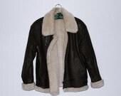 Vintage Leather Fur Motorcycle Bomber Jacket sz. M