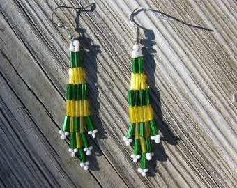 Native American style handmade small bugle bead earrings green and yellow