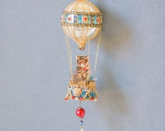 victorian christmas ornament, hot air balloon ornament with cat, victorian ornament, victorian cat ornament - THE FELINE FANCY