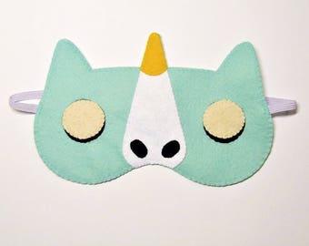 Sleep mask Unicorn felt blue ice Pajamas Spa night sleep party favors animal birthday soft eye sleeping accessory Gift for girl kids her him