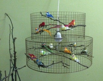 Birdcage Chandelier Bird Decor Lamp Lampshade Lampada - Made in USA
