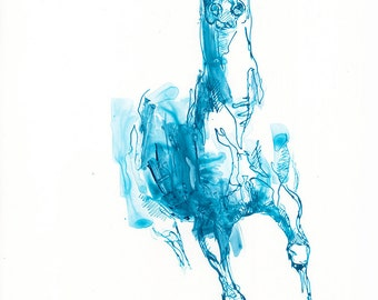 Blue ink and pen Arabian Horse Original Drawing on Paper, Contemporary Art, Modern Art, Expressive Art, Animal
