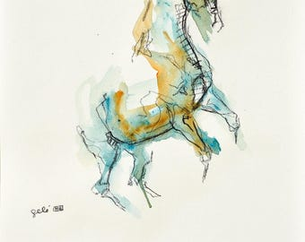 Equine Art, Animal, Modern Original Fine Art, Acrylic, watercolor and chalk Drawing of Horse on Paper, Expressive Art