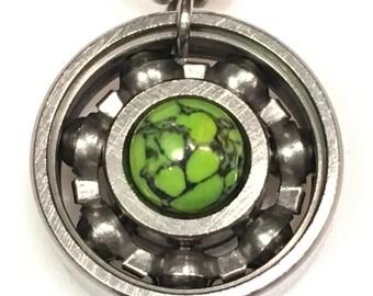 Lime Green Web Roller Derby Skate Bearing Pendant Necklace