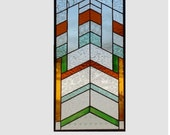 Arts and crafts stained glass window panel chevron stained glass panel window hanging Mission craftsman prairie style 0183 20 3/8 x 10 3/8