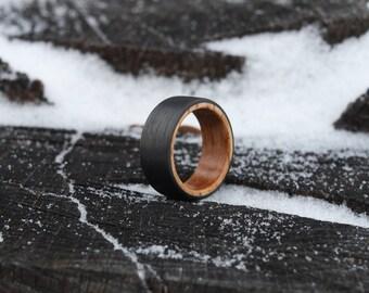 Wood Ring - Carbon Fiber and Whiskey Barrel Oak