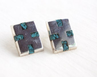 Modern Mexican Earrings Sterling Silver Inlaid Turquoise Post Earrings Modernist Studs Vintage Taxco Mexico Jewelry