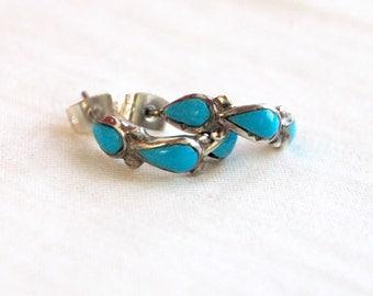 Turquoise Hoop Earrings Southwestern Post Hoops Studs Vintage Sterling Silver Blue Stone Jewelry
