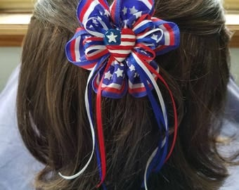 Patriotic Ruffled Hair Bow Barrette