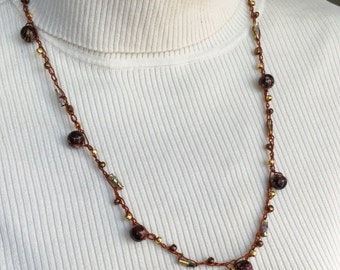 Brown and Gold Crochet Beaded Necklace