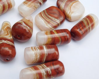 Polymer Clay Beads, brown onyx beads, set of 12