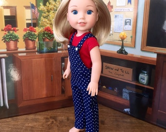 Overalls in Navy Blue Polka Dots for your 14.5 inch Wellie Wisher doll