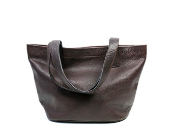 MILA Small Black Leather Tote. Leather Tote Bag. Black Tote Bag. Small Tote Bag