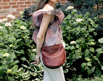 AIDY Brown Leather Purse. Brown Leather Cross Body Purse. Brown Leather Crossbody Bag