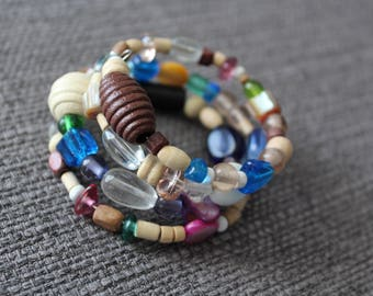Funky Colorful Wooden Bead Memory Wire Bracelet