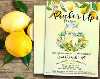 Lemon invitation-lemonade party invitation-bridal shower invitation-summer invitation-lemonade invitation- wedding-watercolor -printable 5x7