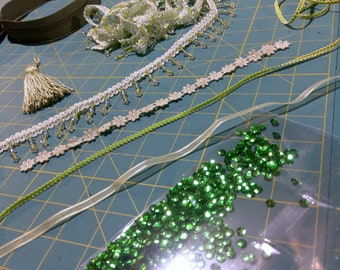 Over 10 yards & accessories - LOT of Trim + Accessories - Greens - Beaded Trim, sequins, braid, ribbon, tassels, + more...